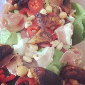 Parma-ham-smokey-mushroom- mixed-bean-salad