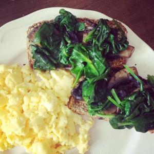 Sautéed mushroom-spinach-on-Irish-soda-bread-with-scrambled-eggs